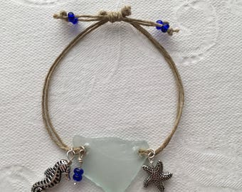 Aqua Ocean Sea Glass Bracelet