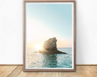 Coastal Print - Beach Wall Art, Digital Print, Sea Print, Surf Art, Beach house decor, Ocean Print, Nature Poster, Nautical Art Print, Blue