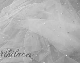 Fine Soft Tulle with Pearls. Imported