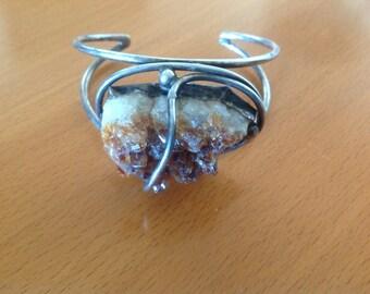 Gemstone Druze amethyst   crystal bracelet
