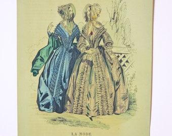 XIX century, original engraving, fashion France, Paris dresses, romantic, Victorian women, Journal des Demoiselles, unframed.