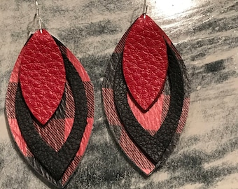 Leather Earrings, Plaid, Red, Black, Layered, Light Weight