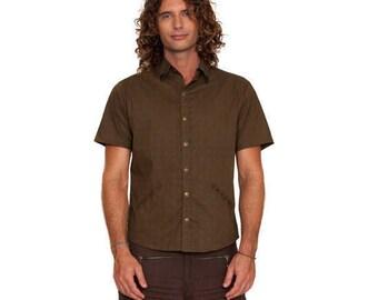 SALE !!! Mens Short Sleeve button Shirt - Arabic Sacred Geometry Star - Byron Bay Burning Man Tribal Print Fractal Art Festival Funky Gothic