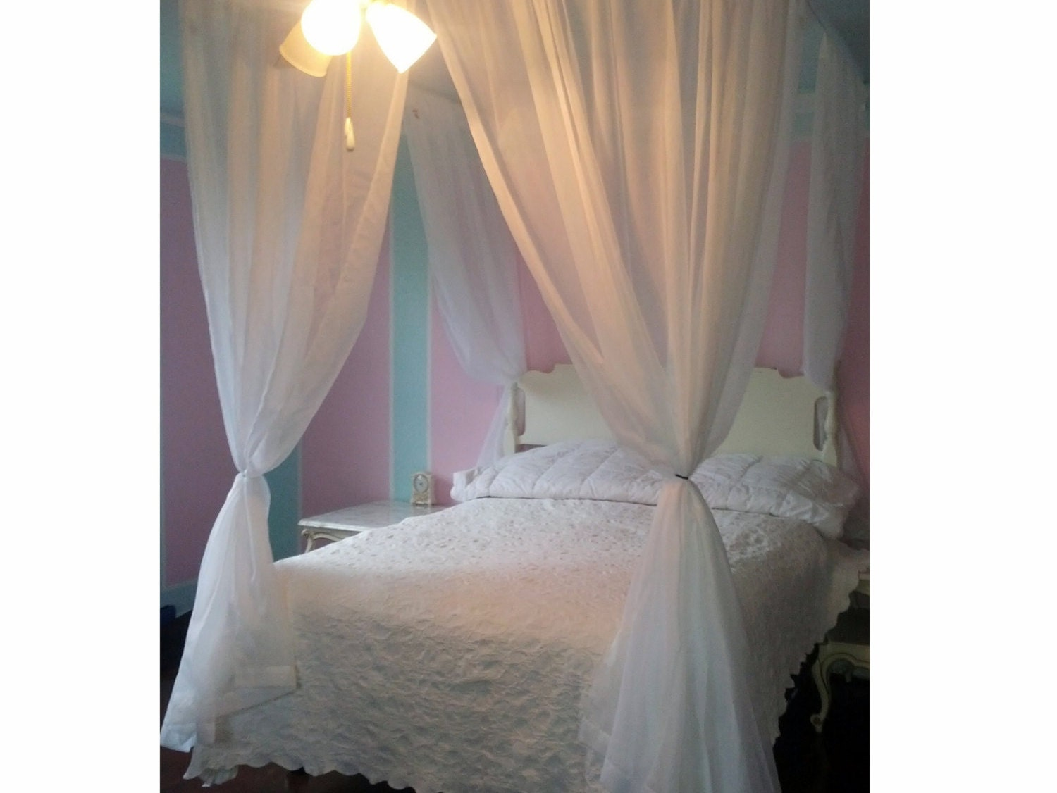 ?zoom  sc 1 st  Etsy & Queen Size Voile Princess Bed Canopy Shabby and Chic Hanging