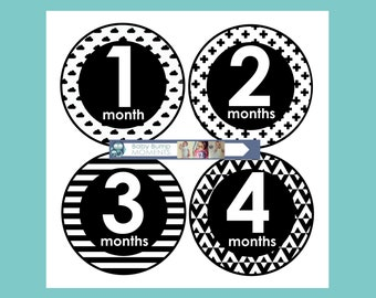 Printable Monthly Baby Stickers, Baby Month Stickers, Growth Stickers, Black and white, Monochrome, Milestone Stickers, Unisex, Digital, PDF