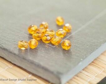 30 Topaz 4mm Firepolish Czech Glass Beads (A219)