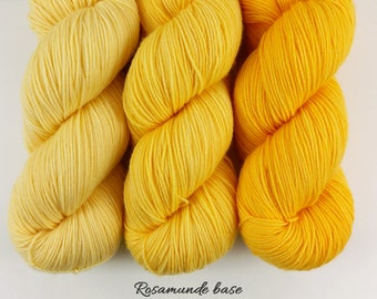 Draft No. 23 - yellow gradient set - hand dyed yarn - fingering sock - 3 skeins 300g - Rosamunde MCN merino cashmere nylon