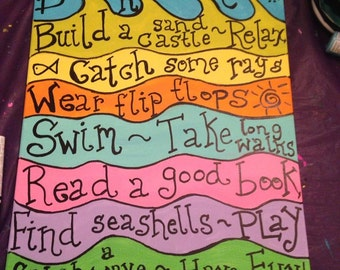 16x20 Beach House Rules Canvas Painting