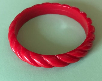 Wrist Candy Twisted Red Bangle