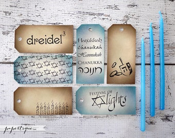 Hanukkah Tags - Hand Inked, Eco Friendly Vintage Gift Tags - Set of 24 Chanukah Tags for Gift Wrap, Party Favor Tags, Prestrung with Raffia