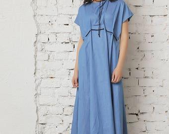 Denim Dress, Minimalist Dress, Women Maxi Dress, Oversized Dress, Maxi Kaftan, Casual Dress, Summer Maxi Dress, Short Sleeved Dress, Caftan