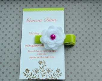 White Felt Rosette Flower Clip with Pink and Lime accents