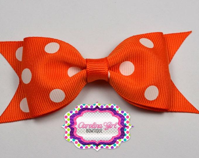 "Orange Dots Tuxedo Bow ~ 3.5"" Hairbow ~ Small Hair Bow ~ Girls Barrette ~ Toddler Bow ~ Baby Hair Bow ~ Hair Clip ~ Girls Hair Bow"