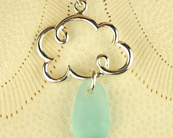 Cloud Necklace With GENUINE Aqua Sea Glass Jewelry