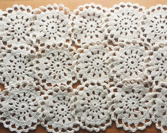20 Small Vintage Crochet Doilies, 2.25 to 2.5 inches, Small Round Lace Doilies for Crafts, White, Beige, or Taupe Colored Doilies
