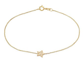 Diamond star bracelet, 14k solid gold