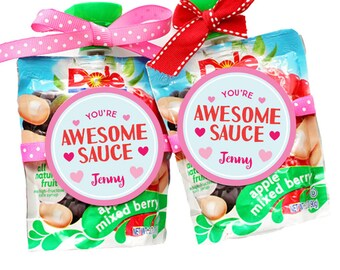 Personalized Stickers You're Awesome Sauce Valentine Party Stickers, Valentine Circle Stickers, Valentine Applesauce Stickers