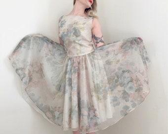 60s Pastel Gauze Watercolor Dress