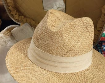 Vintage Straw Hat with Linen Ribbon