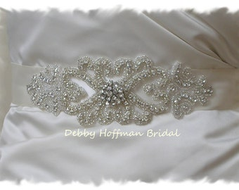 Silver Beaded Bridal Belt, Rhinestone Crystal Bridal Sash, Wedding Dress Sash, Vintage Style Wedding Sash, Wedding Belt, No. 2011S1161-1.5