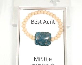 Crystal beaded bracelet, blue stone charm, stretchy bracelet, handmade jewelry, stackable jewelry, layering bracelet, stackable bracelet
