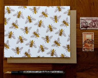 Honey Bees, Letterpress Note Card, Blank Inside