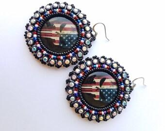 Punisher Flag Beaded Earrings