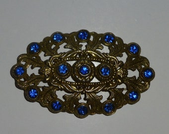 Vintage Brass and Blue Rhinestone Pin Brooch