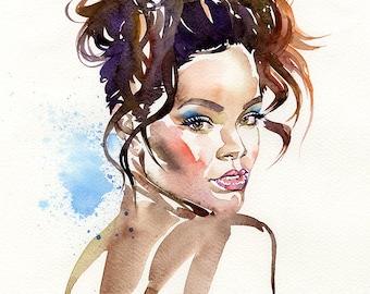 Rihanna, limited edition fine art (giclée) print, 12 x 16 inches( 30.5 x 40.5 cm.)