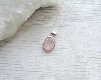 Rose Quartz Gemstone - 925 Sterling Silver Pendant Necklace Natural - Cabochon Bezel Set