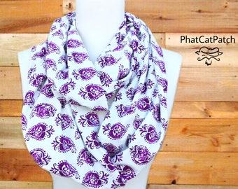 Boho Paisley scarf, Boho scarf, Soft cotton scarf, infinity scarf, Purple scarf, handmade bohemian scarf gifts for her chunky full scarf