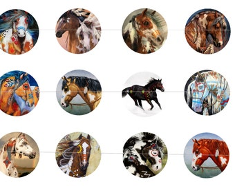 """War Ponies 1"""" Inch Bottle Cap Images Digital Download - 12 images for a 4 x 6 Sheet Size Native American War Horses Painted Horses"""
