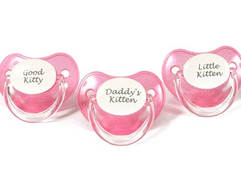Pet play kitten Adult baby pacifier.  Pink and white personalised Little kitten/ daddy's kitten/ good kitty binky nuk 3