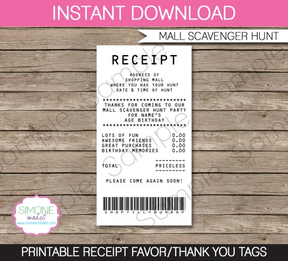 Mall Scavenger Hunt Favor Tags Thank You Tags Receipt Tags