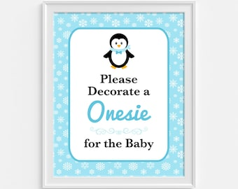 Decorate a Onesie for the Baby Sign, Blue Penguin Snowflake Shower Sign, Baby Boy Shower Sign, INSTANT PRINTABLE