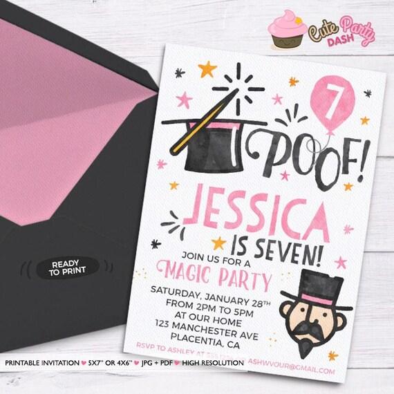 Magic Party Photo invitation Magic Birthday invitations