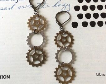 3 Gear Earrings
