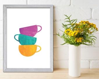 Tea Cups Art Print, Kitchen Wall Art, Modern Kitchen Art Print, Cups Painting, Wall Art Kitchen, Silhouettes, Kitchen Poster