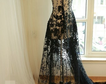Black Dot Floral lace fabric Luxury Sequins French Lace Wedding Dress Lace 55'' Wide 1 Yard S0322