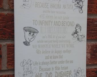 In This House we do disney quotes sign wooden plaque