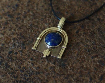 """Jukebox"" art deco yellow brass and lapis lazuli pendant"