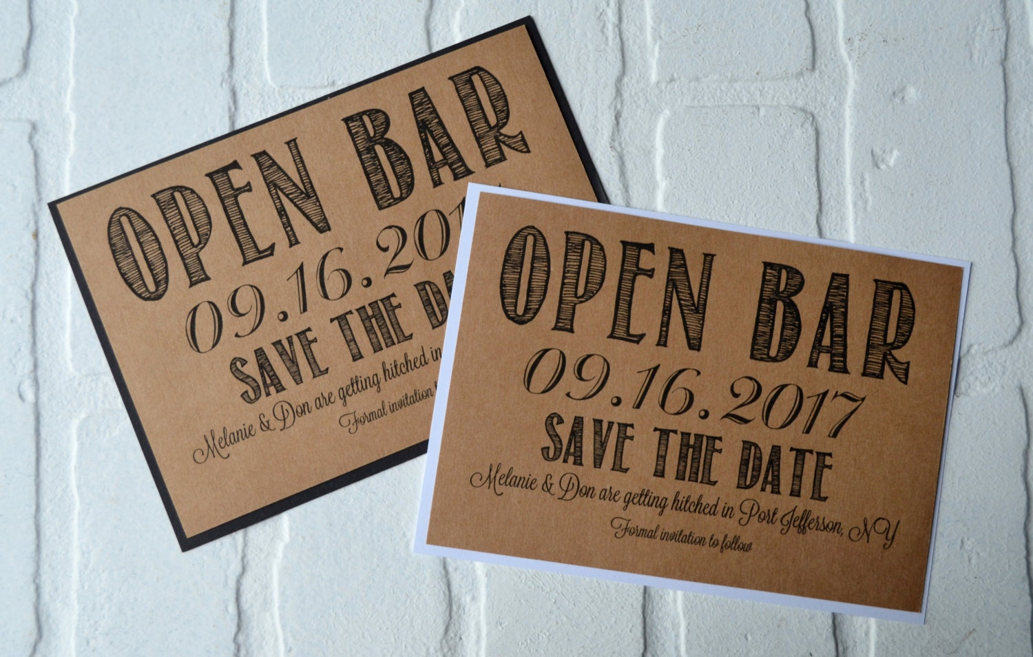 Open Bar Save the Date Cards funny kraft rustic save-the-date