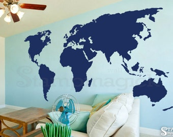 World map wall decal 45 or 58 tall large world large world map wall decal 7 or 8 feet tall world map decal wall art vinyl sticker black board chalkboard decor k379 gumiabroncs Choice Image