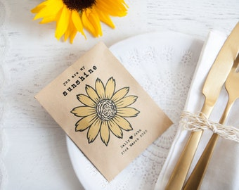 10 Sunflower Personalised Seed Packet Favours