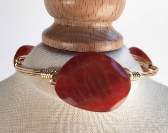 Orange Agate Wire Wrapped Bangle, Wire Wrapped Bangle, Wire Wrap Bangle, Wire Wrapped Bracelet, Wire Wrap Bracelet, Wire Bangle,