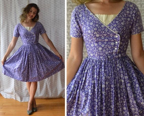 Funny Valentine Dress | vintage purple 50's novelty print day dress | full skirt cotton pockets