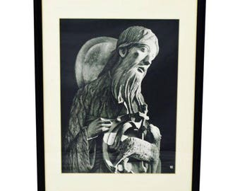 Vintage Framed Black and White Religious Print Jesus and Lamb