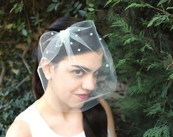 Bridal Blusher Veil Birdcage Veil with Pearls Wedding Veil, Bird Cage Veil, Ivory Veil Short Veil Headpiece Bridal Veil, Hair Accessories