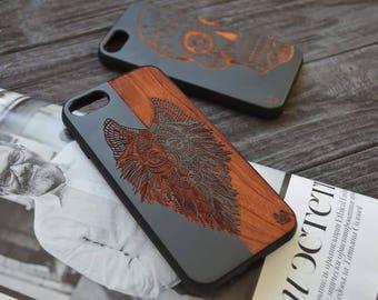 Wood wolf Iphone 7/8 plus Iphone Wood Case ,Wood case iphone,for Iphone 6, 6s / 7 / 8   Iphone X   6 / 6s / 7 / 8 plus