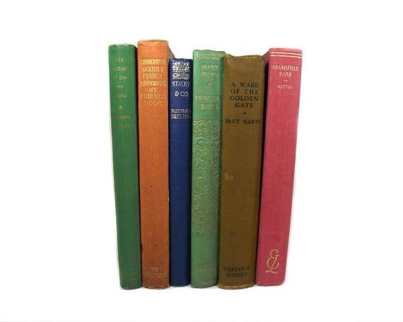 Six Vintage Books for Shelf Decor
